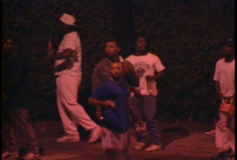 Rioters at night on the streets of LA during the L Stock Video Footage