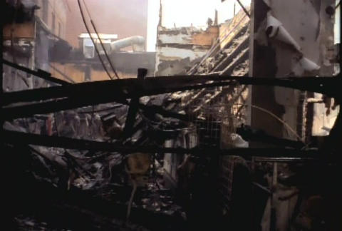 Buildings are burned during the LA riots in 1992 Stock Video Footage
