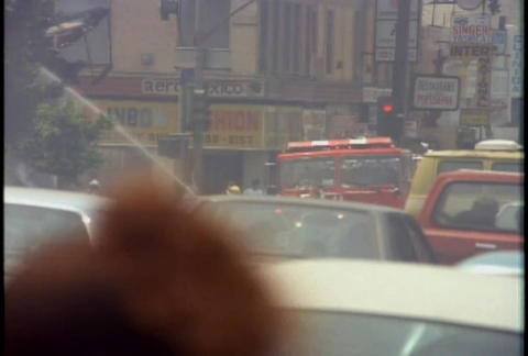 Fire trucks responding during the LA riots in 1992 Footage
