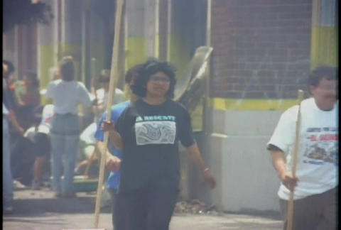Communities work to clean up after looting during Stock Video Footage