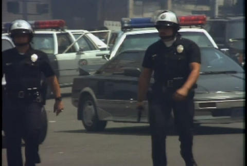 Police direct traffic during the LA Riots Footage