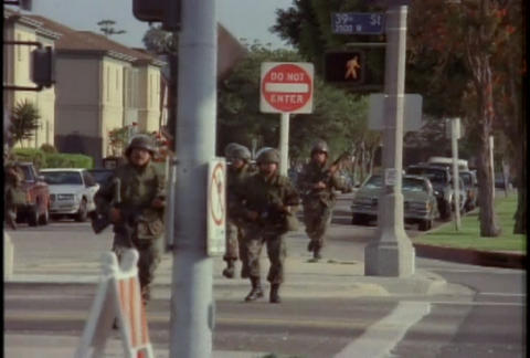 National Guard troops guard against looting during Footage