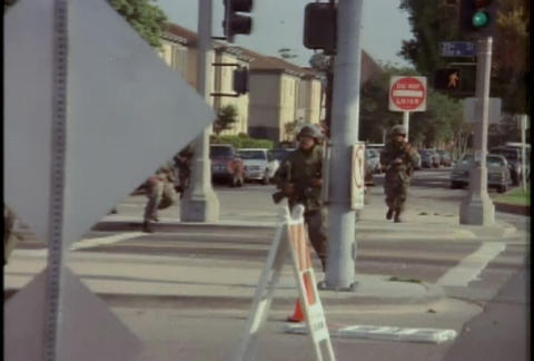 National Guard troops guard against looting during Stock Video Footage