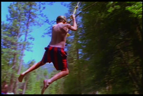 A boy rides a swing and dives into a watering hole Stock Video Footage
