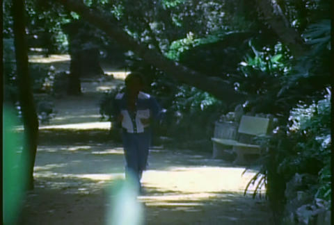 A retro man jogs on a trail through a forest Footage