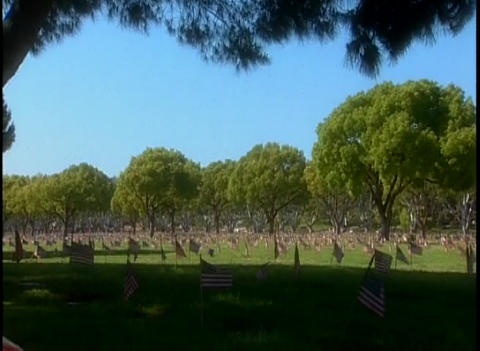 Tilt down to hundreds of graves in a military ceme Stock Video Footage