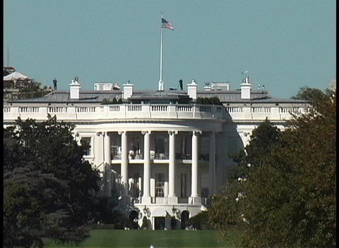 Trees surround the White House in Washington DC Footage