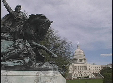 The Calvary Charge statue rests in front of the United States Capitol Building Footage