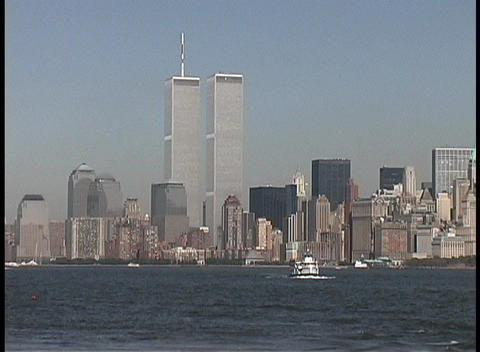 The World Trade Center Towers adorn the city of New York Stock Video Footage