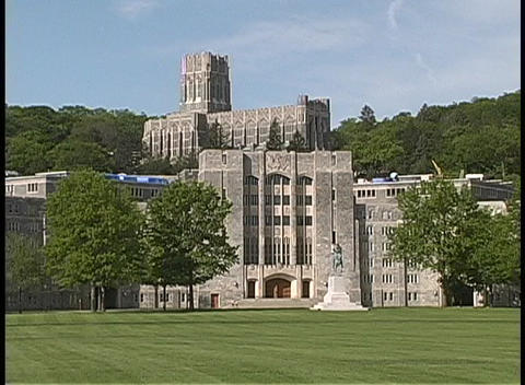 Trees surround West Point Academy Footage