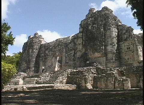 People walk down ancient stone steps of the Hormiguero... Stock Video Footage