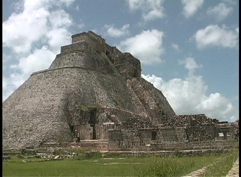 The ancient Mayan Pyramid of the Magician rests in Uxmal, Yucatan, Mexico Footage