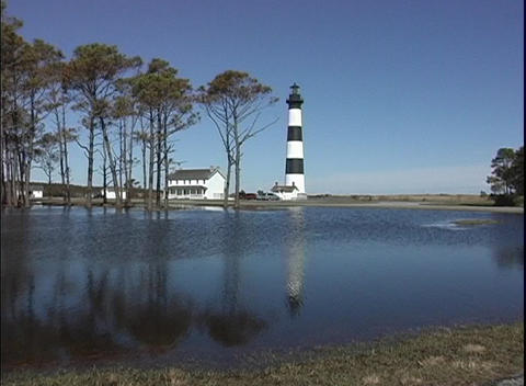 The calm waters off Cape Hatteras reflect the historical... Stock Video Footage