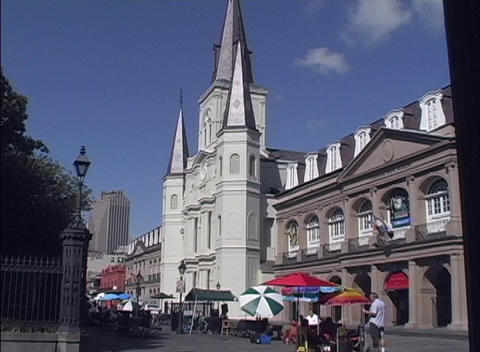 Street vendors sell their wares in the courtyard in front of Jackson Square in the New Orleans Frenc Footage