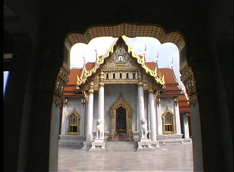 Unique moldings adorn a temple entrance in Thailand Footage