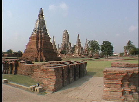 Tourists visit the temples of Ayutthaya, Thailand Stock Video Footage