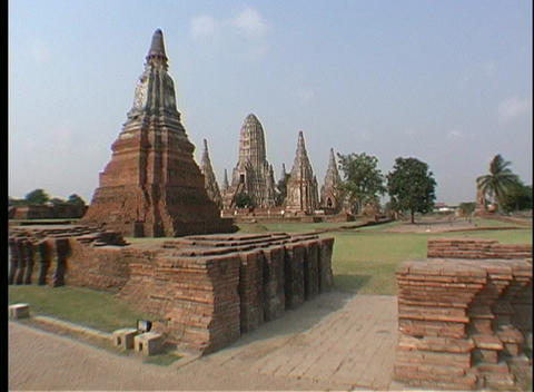 Tourists Visit The Temples Of Ayutthaya, Thailand stock footage