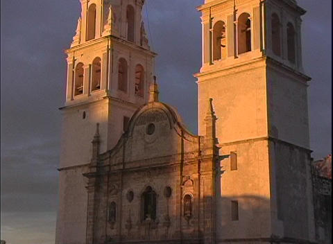 A spectacular shot of the facade of the Cathedral in Campeche, Mexico at sunset Footage