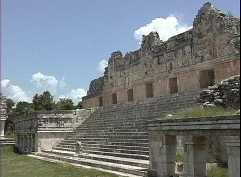 Stairs lead down from an ancient Mayan ruin Stock Video Footage