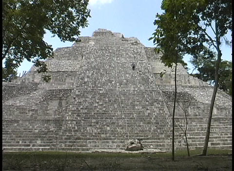 The Becan pyramid is the tallest structure in the Becan, Campeche ruin complex Footage