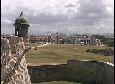 The city of San Juan is seen from the Castillo San Felipe... Stock Video Footage