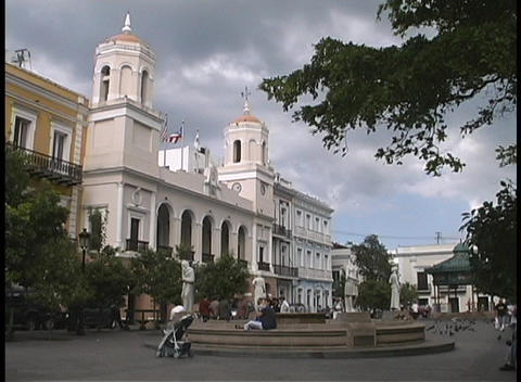 Storm clouds gather and wind blows in San Juan's Plaza de Armas Footage