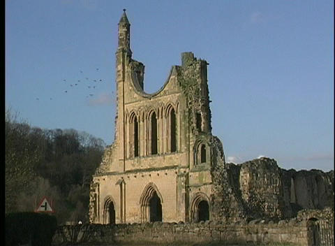 Flocks of birds fly around the remains of a castle or a... Stock Video Footage