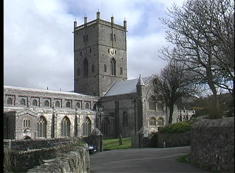 A picturesque view of St. David's Cathedral in... Stock Video Footage