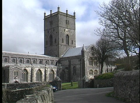 A picturesque view of St. David's Cathedral in Pembrokeshire, Wales Footage