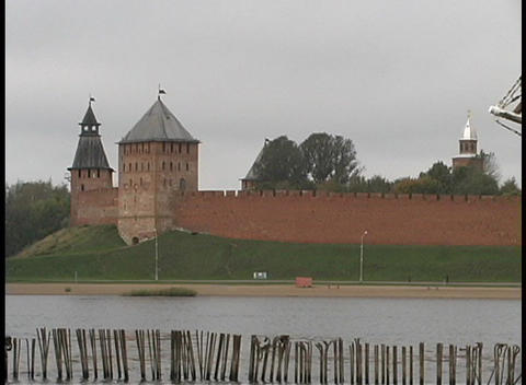 The two towers of Novgorod Kremlin adorn the Volkhov... Stock Video Footage