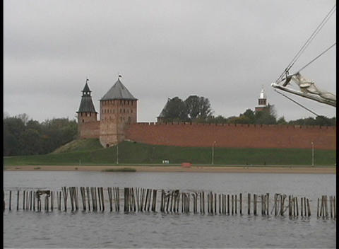 The two towers of Novgorod Kremlin adorn the Volkhov River in Russia Footage