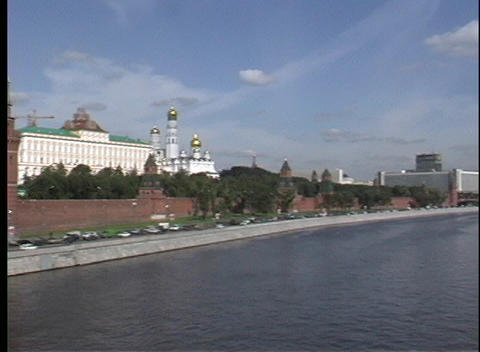 Pan-left across the Moscow River to the Kremlin in Russia Footage