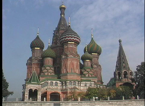 A medium shot of domes and spires of the St. Basils... Stock Video Footage