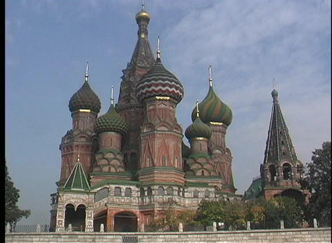 A medium shot of domes and spires of the St. Basils Russian Orthodox Church in Moscow Footage