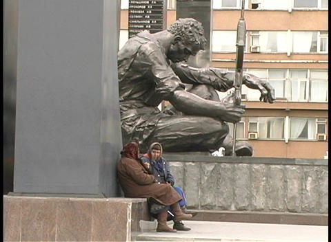 people sit and talk at the base of the Yekaterinburg... Stock Video Footage