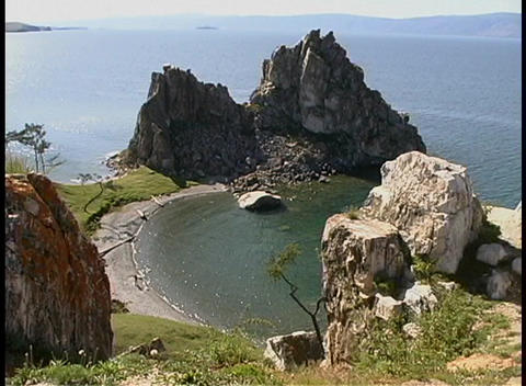 A birds-eye view of jagged rocks along the shore of Lake Baikal in Russia Footage