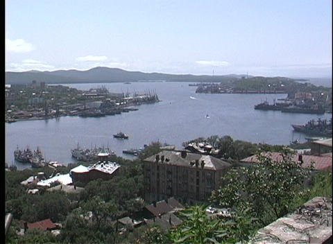 The city of Vladivostok overlooks the harbor Stock Video Footage