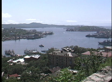 The city of Vladivostok overlooks the harbor Stock Video Footage