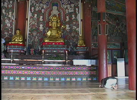 A man bows and prays in a Buddhist temple in South Korea Live Action