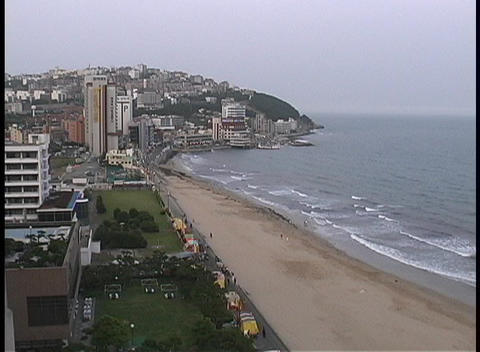 Haeundae Beach adorns the city of Bussan, South Korea Stock Video Footage