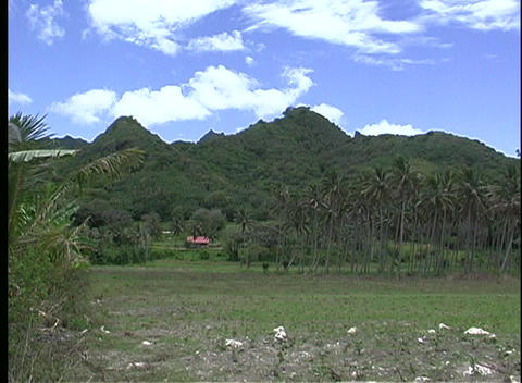 Establishing shot of Rarotonga's grass covered hills, one... Stock Video Footage