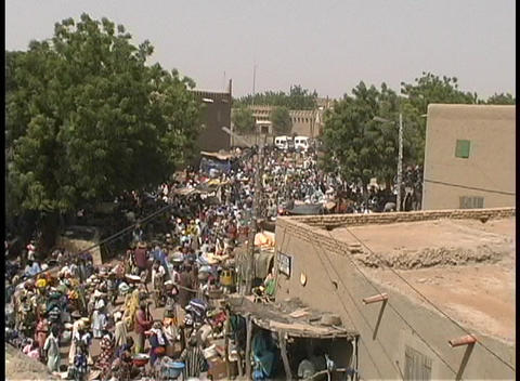 Market day in Djenne, Mali a small village in Africa Stock Video Footage