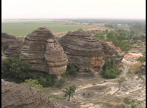 A birds-eye view of unusual beehive-like rock formations... Stock Video Footage