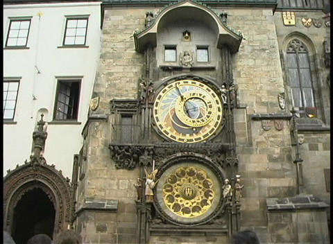 Pan-up of the front of the clock tower in Old Town Hall,... Stock Video Footage