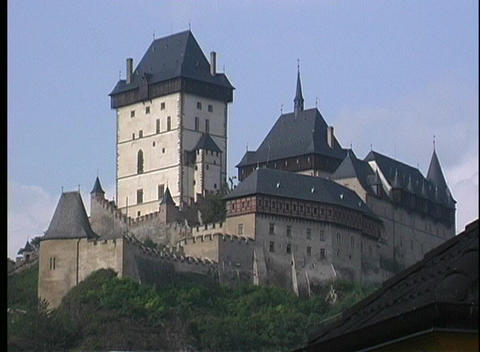 A medium shot of Karlstejn Castle in Prague Footage