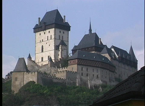 A medium shot of Karlstejn Castle in Prague Stock Video Footage