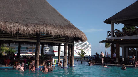 Costa Maya Mexico cruise ship passengers enjoy marina swimming pool 4K Footage