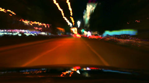 Night car drive around time lapse. Cars leave trace with lights Footage