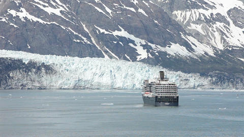 Cruise ship Glacier Bay turning for scenic view HD 1421 Footage