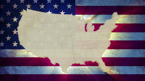 Unites States America map with national flag, old glory Footage